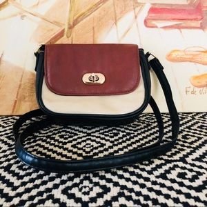 🦋 Small Two-tone Crossbody Bag with Gold Clasp